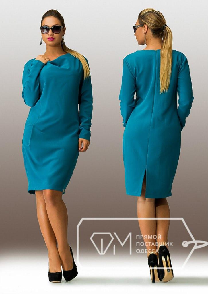 Батальное женское платье с длинными рукавами
