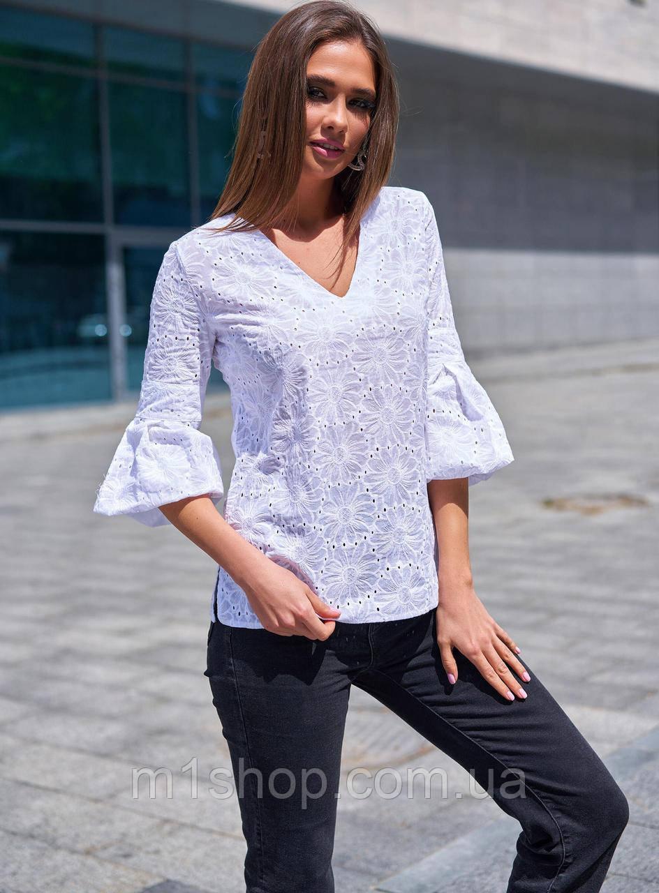 Женская натуральная легкая блуза из прошвы с цветочной вышивкой (Николь mm)
