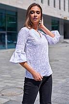 Женская натуральная легкая блуза из прошвы с цветочной вышивкой (Николь mm), фото 3