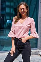 Женская натуральная легкая блуза из прошвы с цветочной вышивкой (Николь mm), фото 2