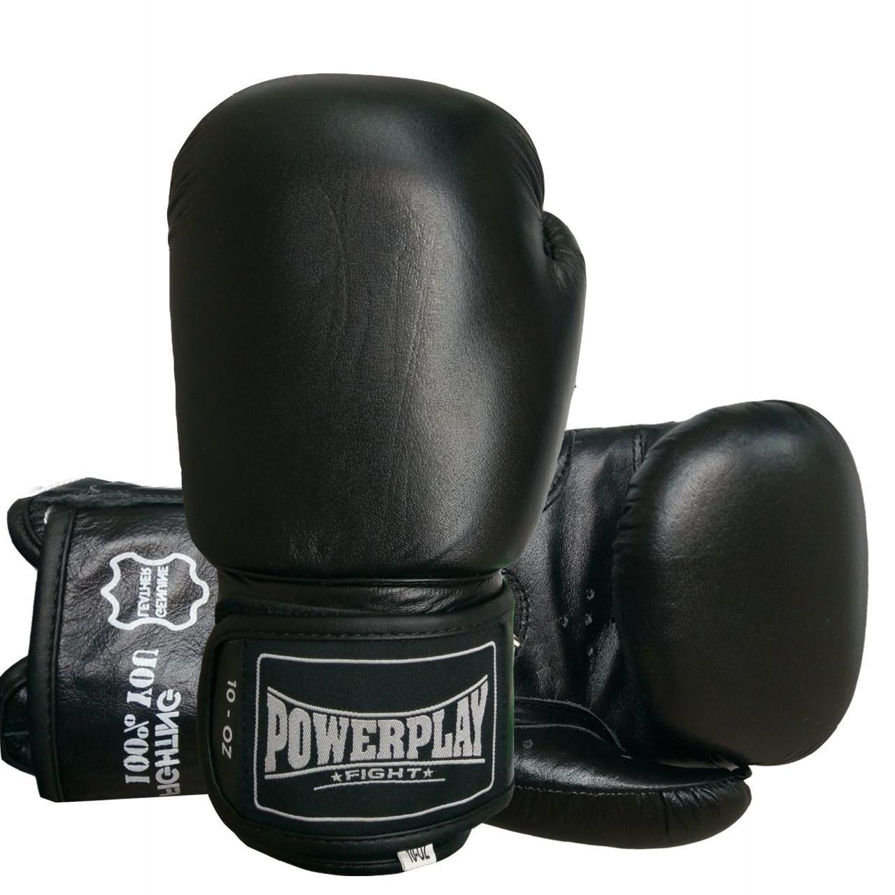 Боксерские перчатки подростковые PowerPlay 3088 черные из натуральной кожи 10 унций