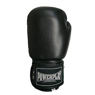 Боксерские перчатки подростковые PowerPlay 3088 черные из натуральной кожи 10 унций, фото 2