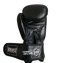 Боксерские перчатки подростковые PowerPlay 3088 черные из натуральной кожи 10 унций, фото 3