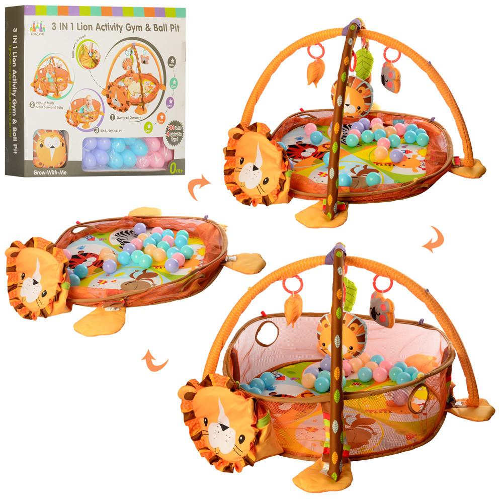 Большой коврик-манеж для младенца с игрушками,мячиками и рюкзаком Львенок 63571