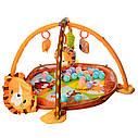 Большой коврик-манеж для младенца с игрушками,мячиками и рюкзаком Львенок 63571, фото 3