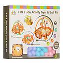 Большой коврик-манеж для младенца с игрушками,мячиками и рюкзаком Львенок 63571, фото 5