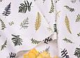 Сатин (бавовняна тканина) листочки різні на білому, фото 3
