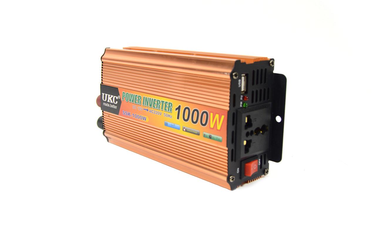 Автомобильный преобразователь напряжения 12V-220V, инвертор 1000W