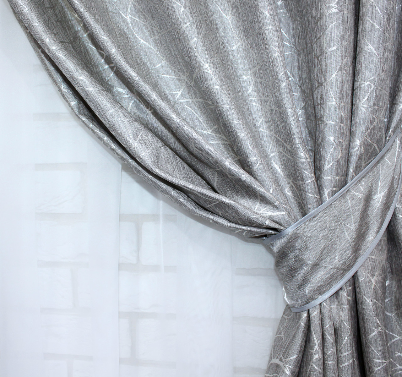 "Комплект готовых жаккардовых штор ""Савана""  Цвет  серый.  Код 514ш, фото 4"