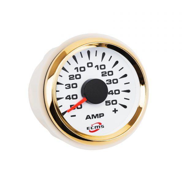 Амперметр ECMS HMA2-WG±80A діаметр 52мм, рамка золото, білий дисплей