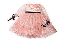 Платье нарядное Персиково-розовое с евро сеткой