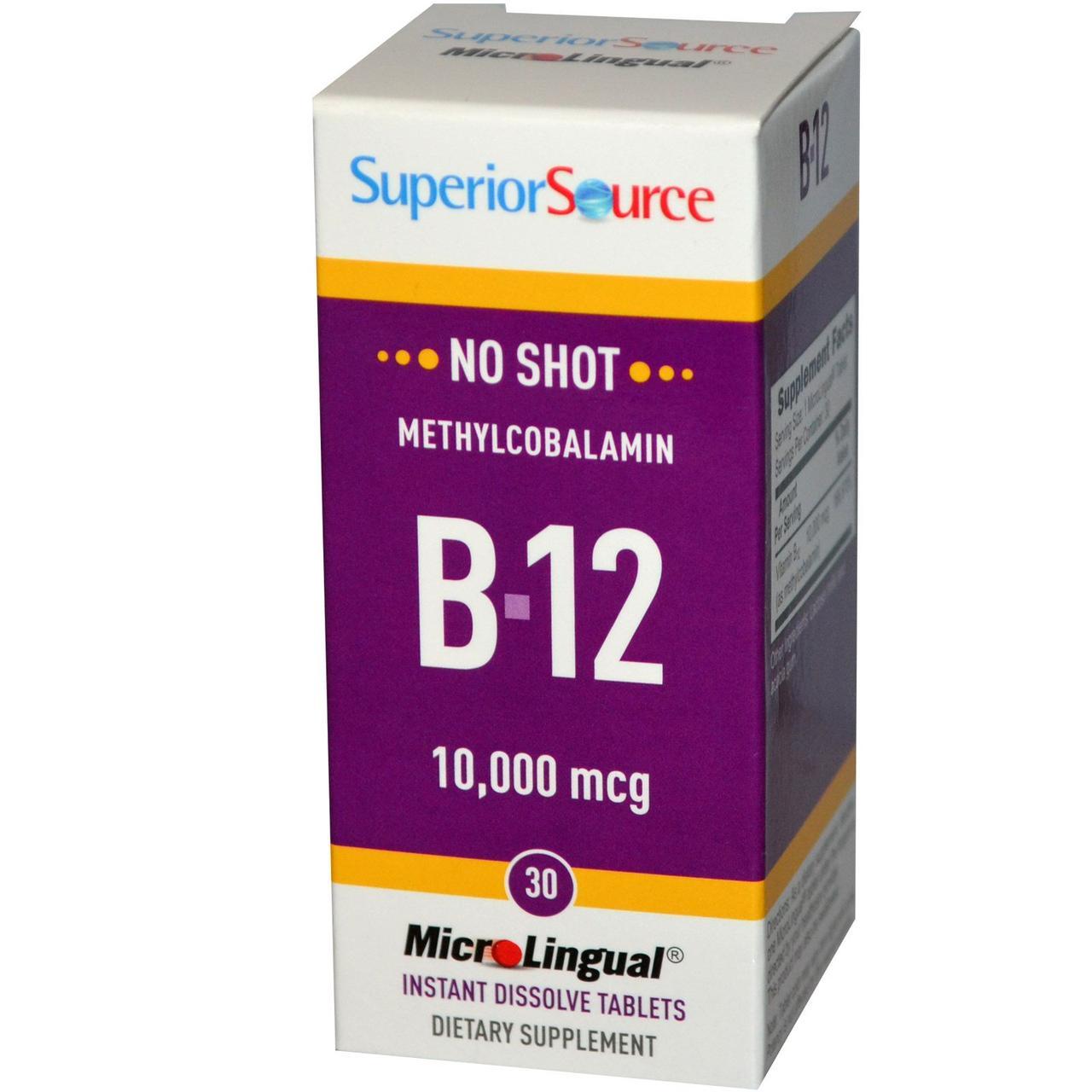 Метилкобаламин (витамин  B-12), Superior Source, 10 000 мкг, 30 быстрорастворимых микролингвальный таблеток