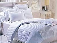 Семейный комплект белого цвета постельное белье «Белая полоска»