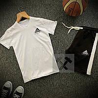 Шорты + Футболка Adidas white-black мужские | Спортивный костюм летний, фото 1