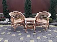 Плетеный набор мебели из низкими спинками