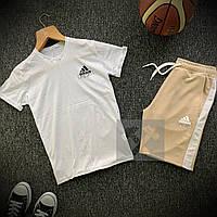 Шорты + Футболка Adidas white-beige мужские | Спортивный костюм летний, фото 1