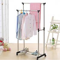 Вешалка стойка для одежды напольная двойная телескопическая на колесиках Хром