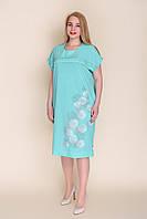 Женское летнее платье мята большого размера от производителя. Размер 56