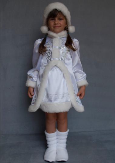 Детский карнавальный костюм Снегурочка на Новый год белый 5-6 лет