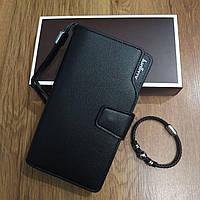 Подарочный набор №25. Мужской стильный клатч-портмоне Baellerry Business + браслет из стали и кожи Ball