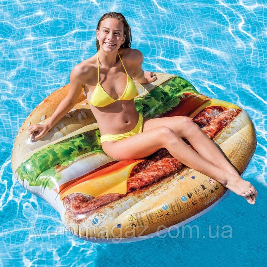 Пляжный надувной матрас-плот Intex 58780  145*142 см «Гамбургер»