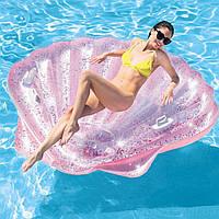 Надувной матрас-плотик Intex 57257 «Ракушка Розовый Блеск» , 178*165*24 см, с ручками и подстаканником