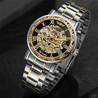 Часы наручные мужские механические водонепроницаемые Winner 8012 Diamonds Automatic Silver-Black-Gold