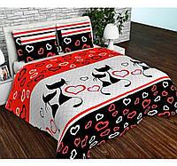 Постель ЕВРО Коты, коттон. Комплект постельного белья. Ткань Бязь Голд: 100% Хлопок