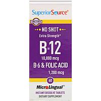 Витамин B-12, B-6, фолиевая кислота, 10,000 мкг/2 мг/1,200 мкг, 60 микролингвальных таблеток