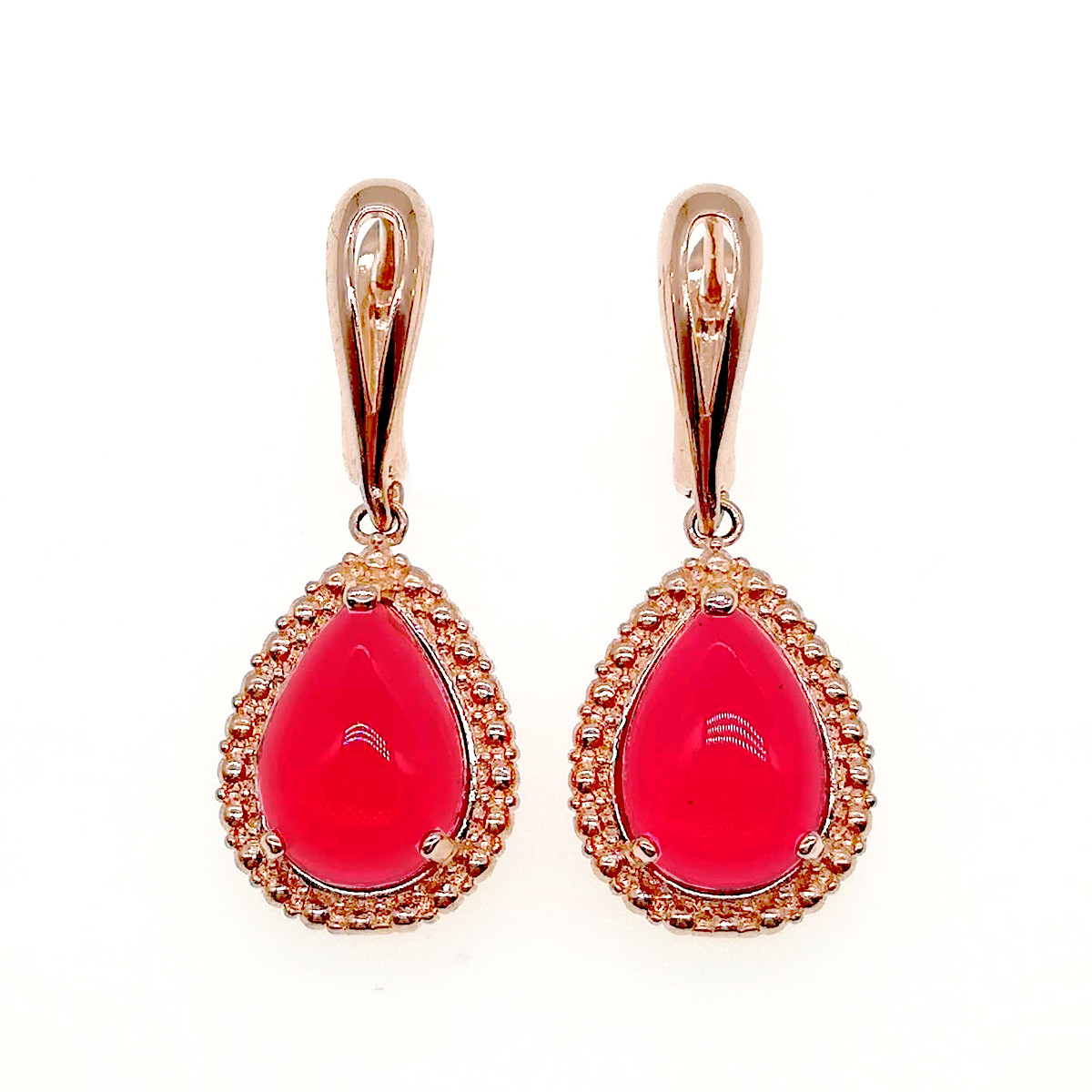 Сережки SONATA з медичного золота, червоні фіаніти, позолота PO, 23597
