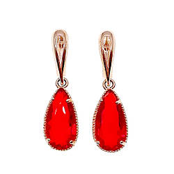 Сережки SONATA з медичного золота, червоні фіаніти, позолота PO, 23026
