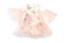 Платье двойное нарядное Персиковое Бежевое в цветы
