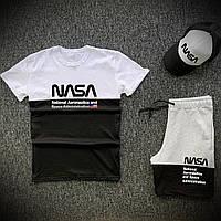 Комплект Футболка + Шорты Nasa USA x black-white   Спортивный костюм мужской летний ТОП качества