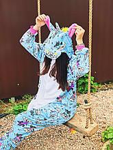 Кигуруми  Единорог Голубой с принтом   Для взрослых и детей