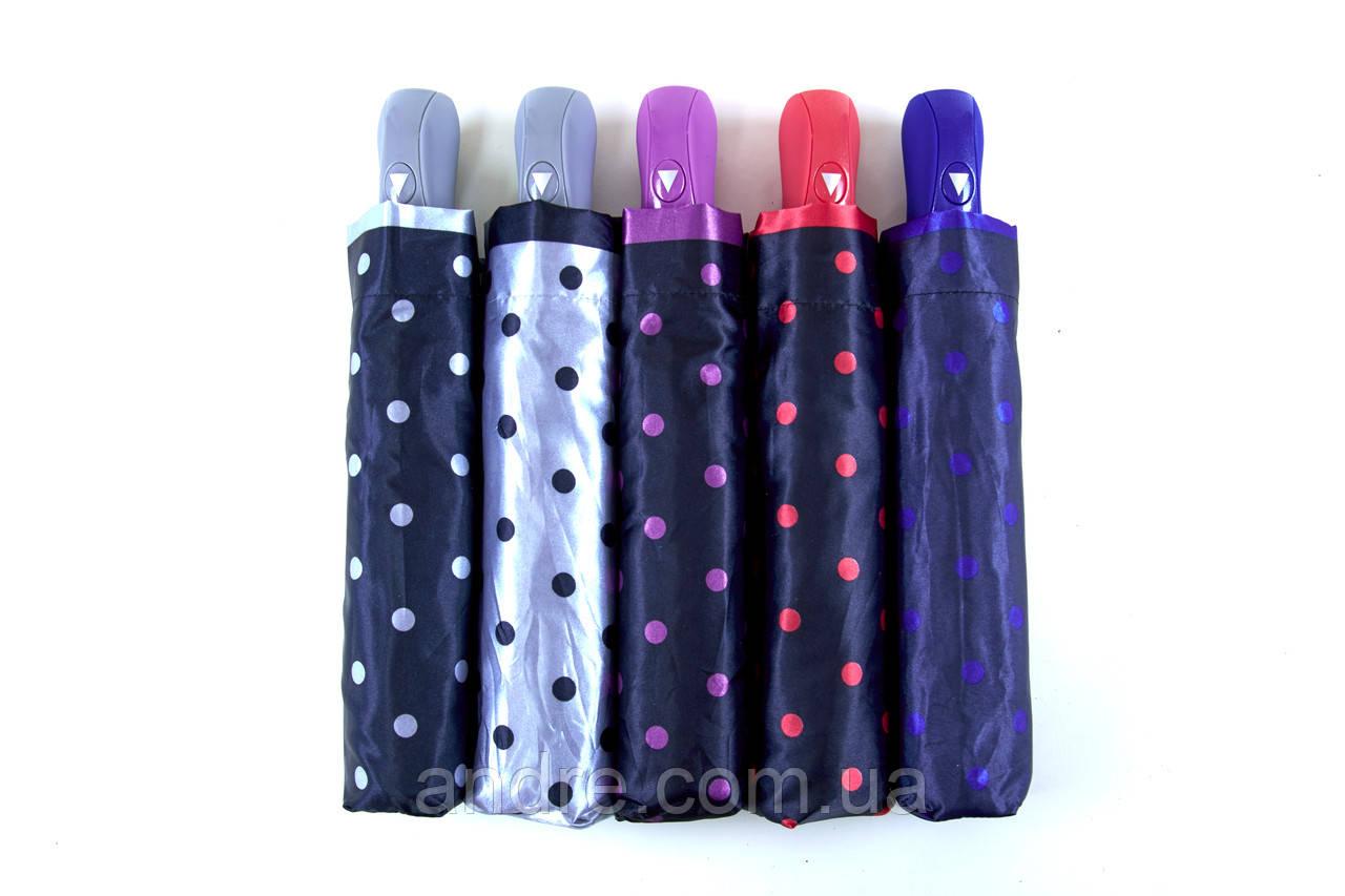 Женский зонт-полуавтомат атласный в горошек