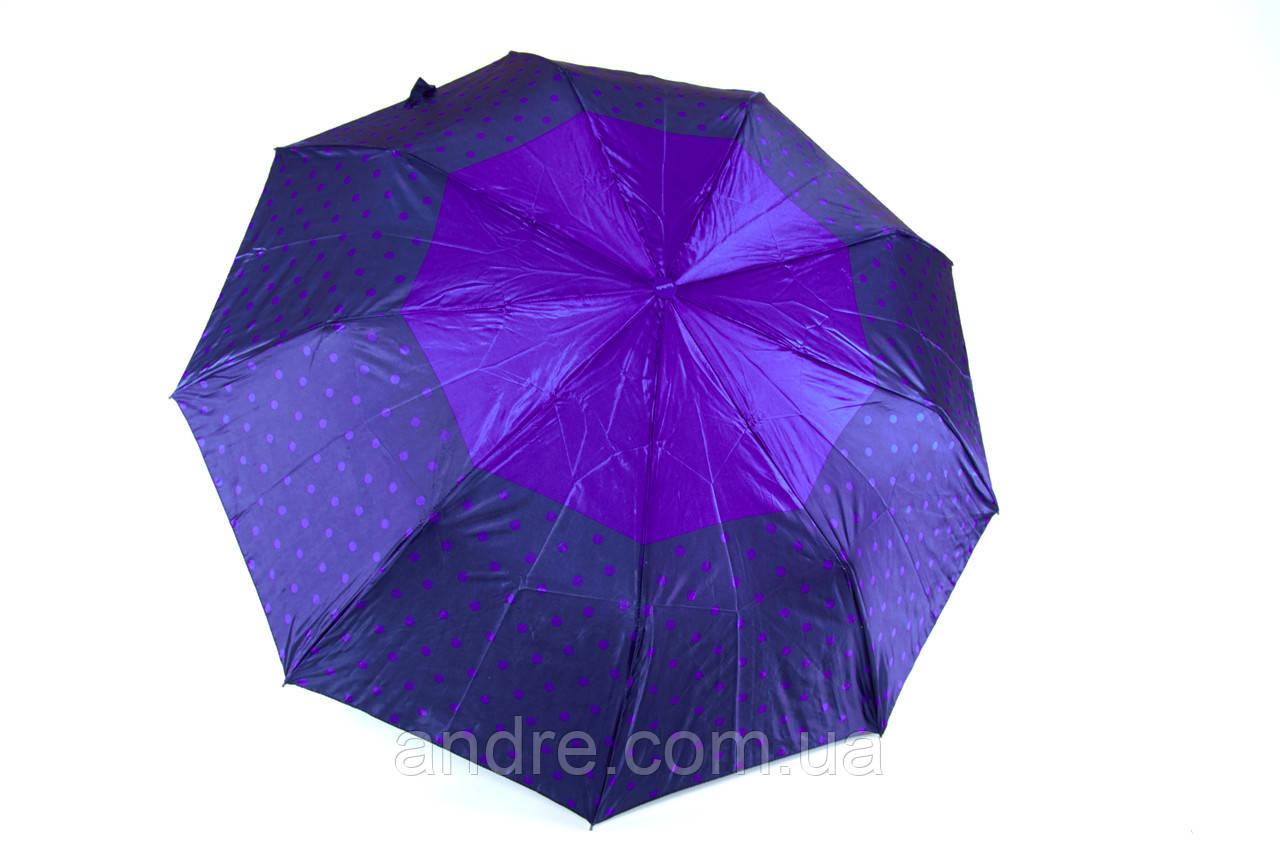 Женский зонт-полуатомат атласный в горошек