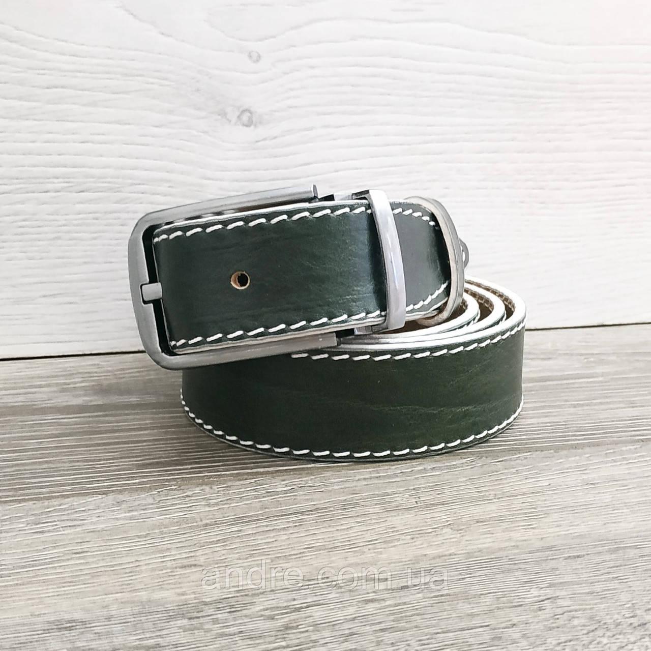 Ремень брючный кожаный 3,5 см зелёный с прострочкой