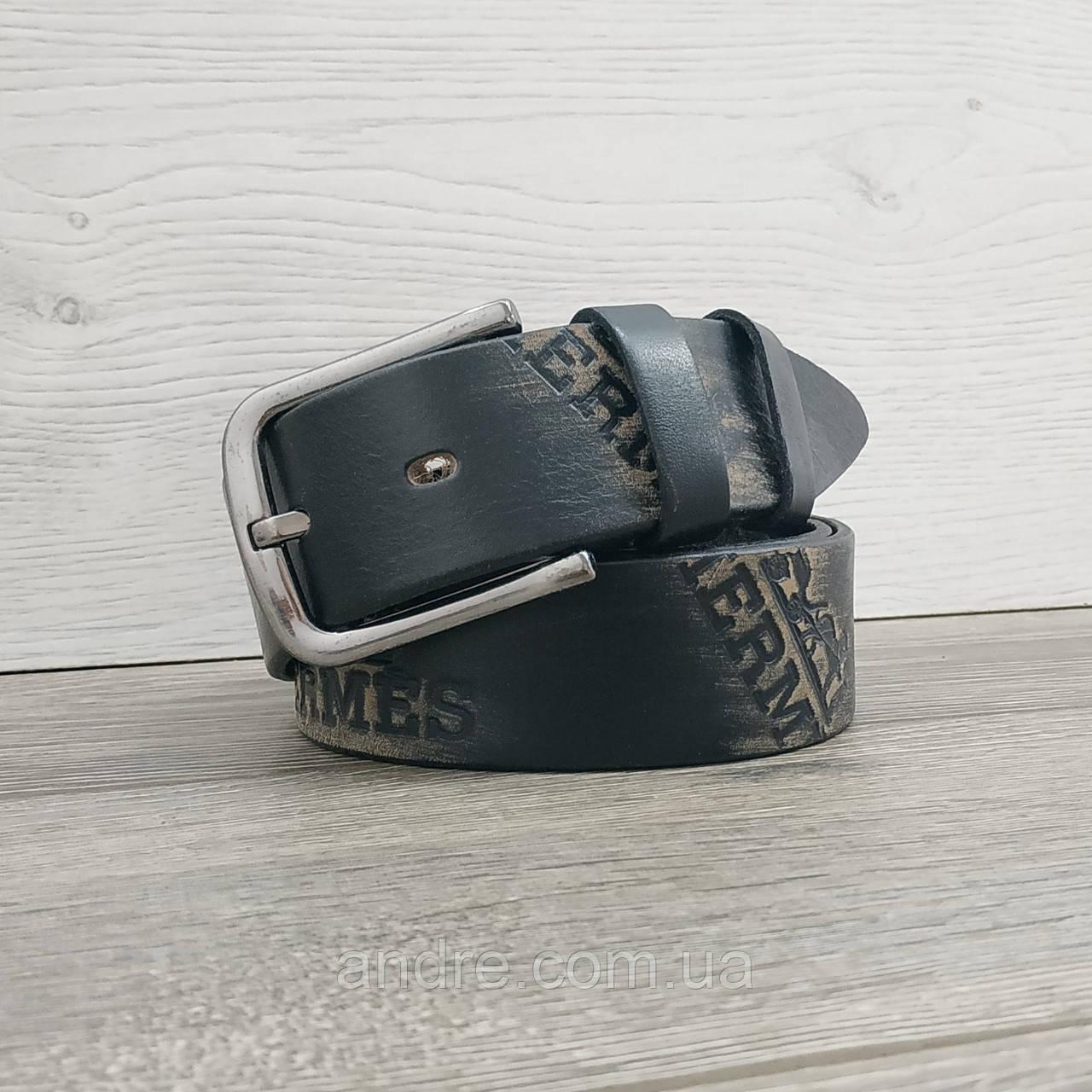 Кожаный джинсовый ремень 4 см черный