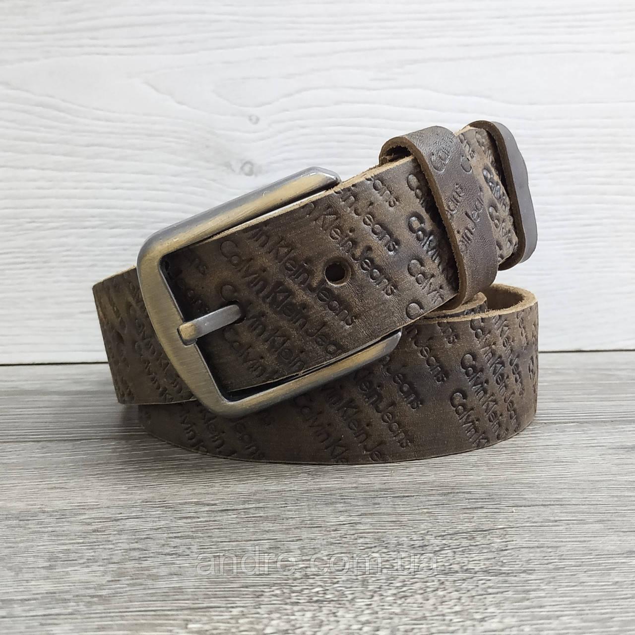Кожаный джинсовый ремень 4 см коричневый