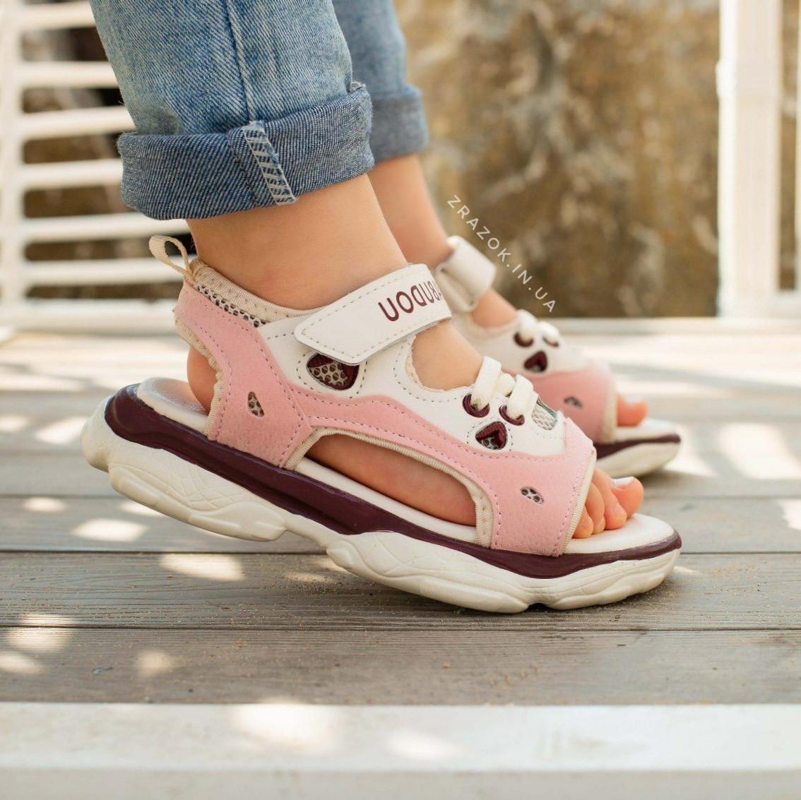 Розовые детские босоножки шлепки сандалии на липучке босоніжки шльопанці сандалі на липучці