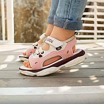 Розовые детские босоножки шлепки сандалии на липучке босоніжки шльопанці сандалі на липучці, фото 2