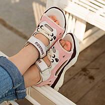 Розовые детские босоножки шлепки сандалии на липучке босоніжки шльопанці сандалі на липучці, фото 3