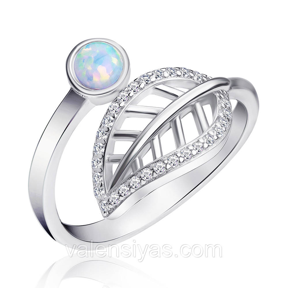 Серебряное кольцо Листик с опалом