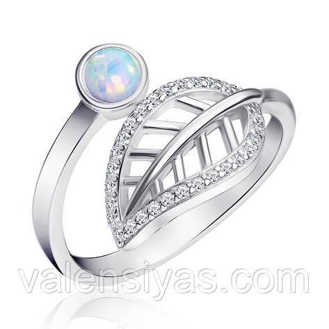 Серебряное кольцо Листик с опалом, фото 2