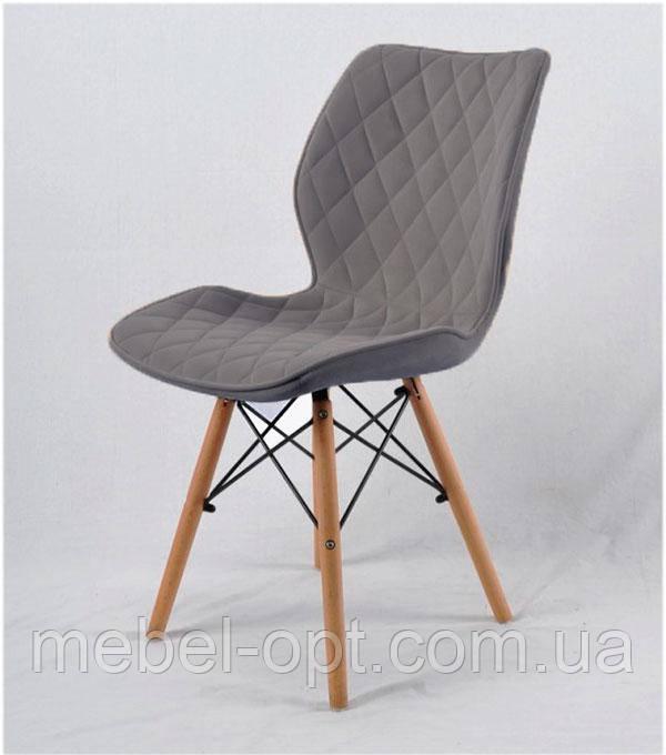 Стул Nolan экокожа серый 1001 на деревянных буковых ножках, дизайн Charles Eames