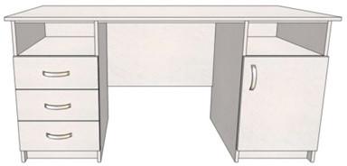 Стол офисный 150 ЗЯД с двумя тумбами Данко 120*60*75, ДСП Дуб сонома