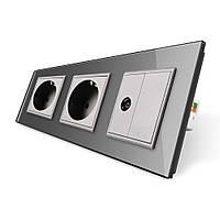 Розетка трехместная комбинированная Силовая ТВ Livolo серый стекло (VL-C7C2EU1VK0-15), фото 1