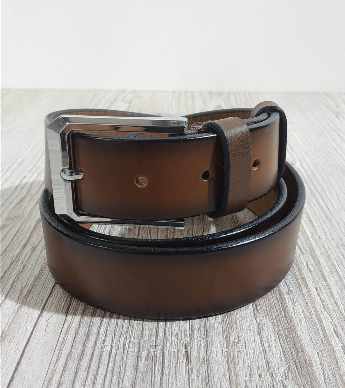 Кожаный брючный ремень 3,5 см коньячный