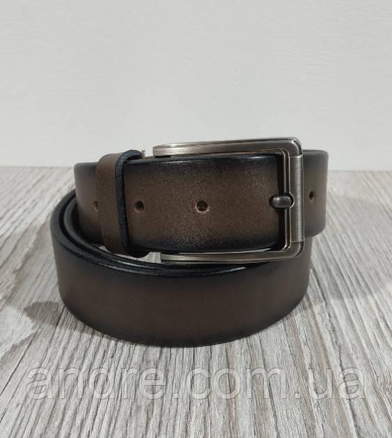 Кожаный брючный ремень 3,5 см коричневый