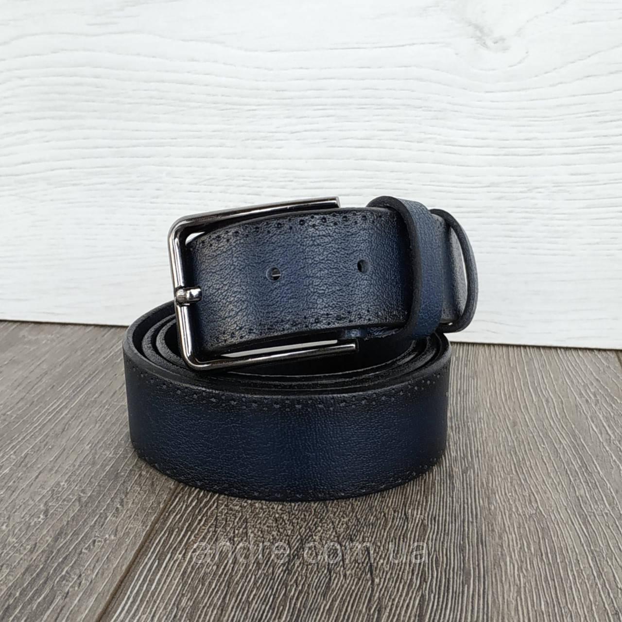 Кожаный брючный ремень 3,5 см синий